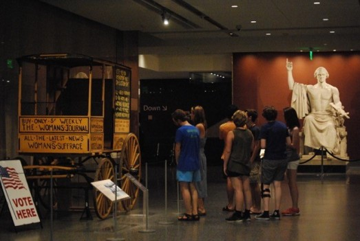 Students at the American History Museum