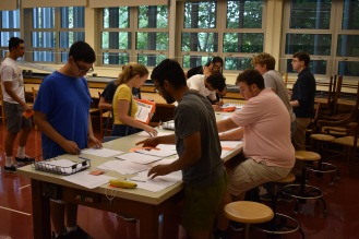 Students completing the registration process