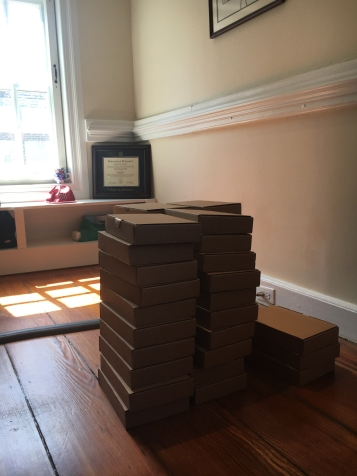 A stack of Iliads ready for delivery in Annapolis