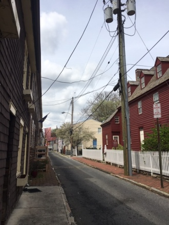 One of the many historic, brick lined streets.